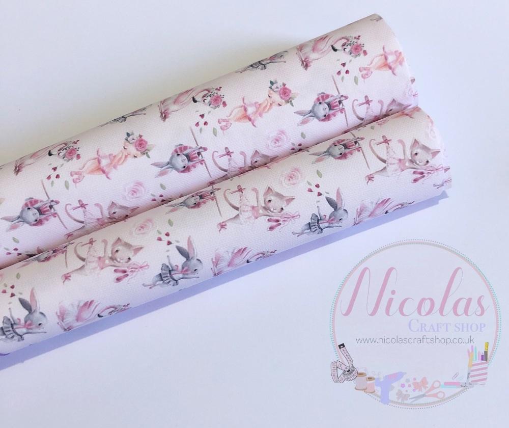 1248 - Mixed animals baby pink ballet ballerina dancers printed canvas fabric