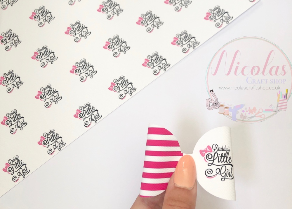 Daddy's Little Girl Pink Stripe Pre Cut Printed Bow Loop