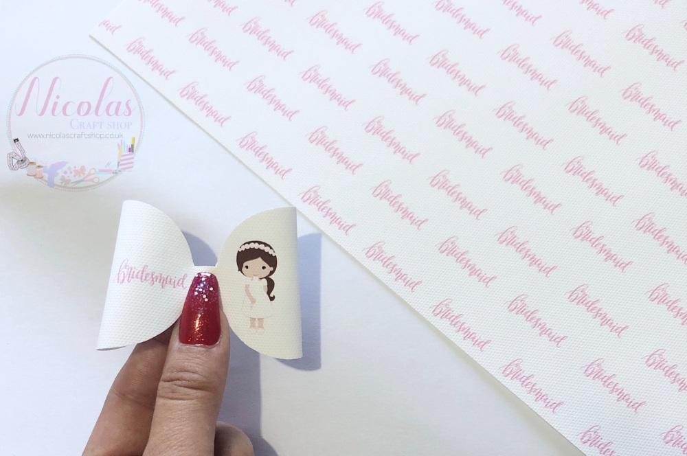 Pink Bridemaid Girl printed pre cut bow loop