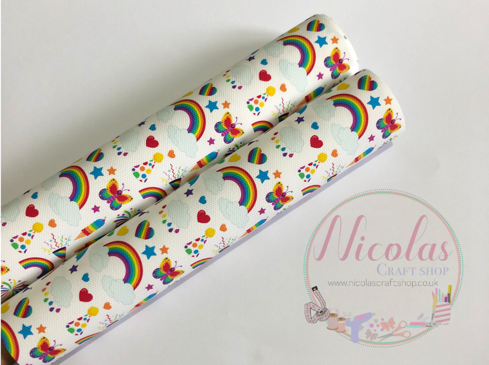 Rainbow Crazy Collage printed canvas fabric