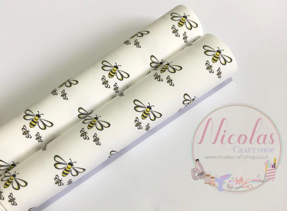 Bumble Bee Mum and babies printed canvas sheet fabric