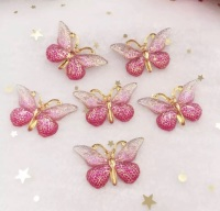 Pink mixed Butterfly Bling 3d flatback embellishment