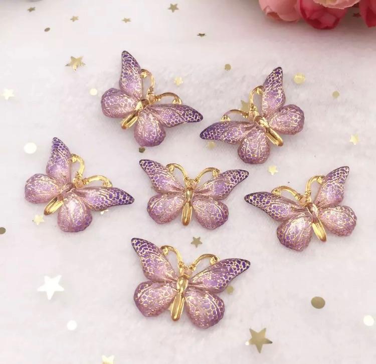Purple Butterfly Bling 3d flatback embellishment