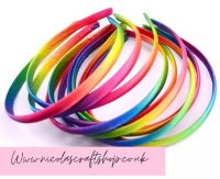 Rainbow satin headbands 10mm