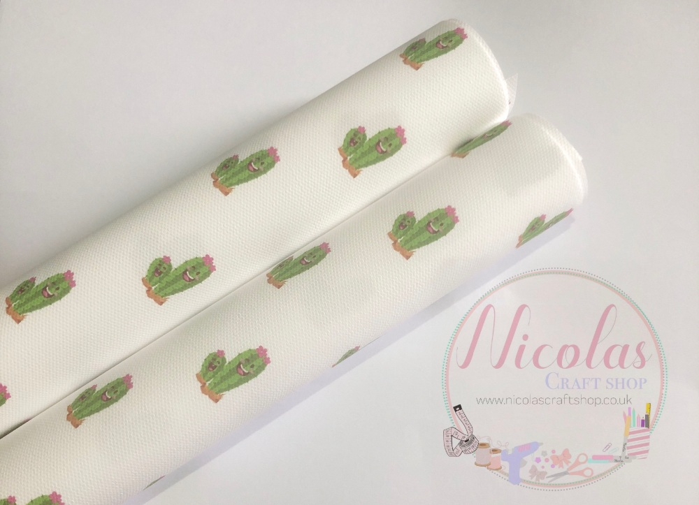 Happy Cactus printed canvas fabric 🌵