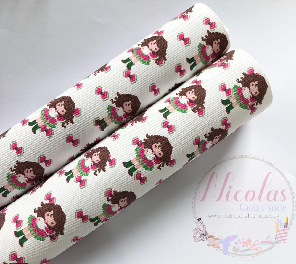 Watermelon  Girl - Brown Hair printed canvas fabric