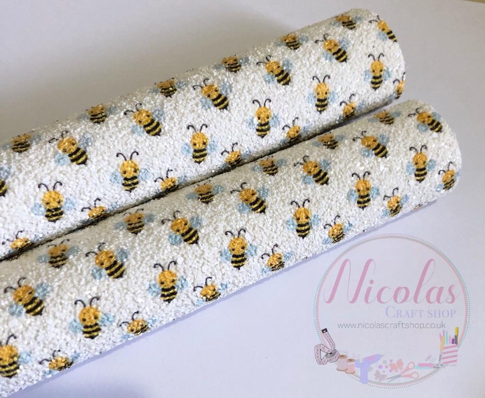 Bumble Bee Matte Chunky Glitter Fabric