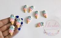 Kawaii Double ice cream in wafer embellishment