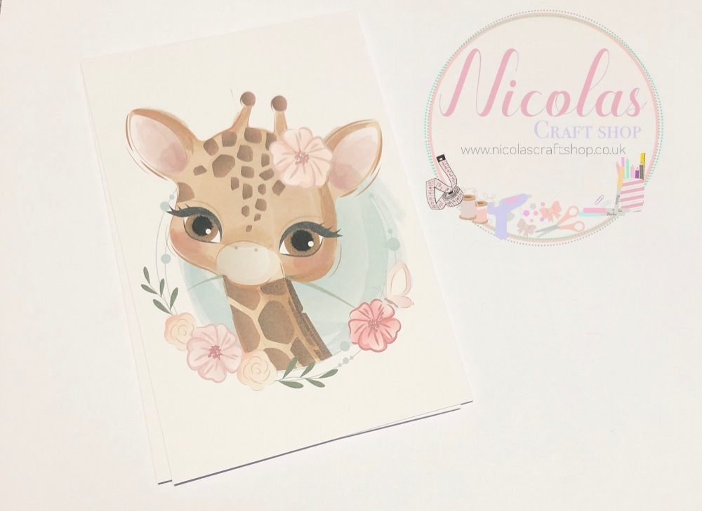 Stunning floral giraffe printed bow cards