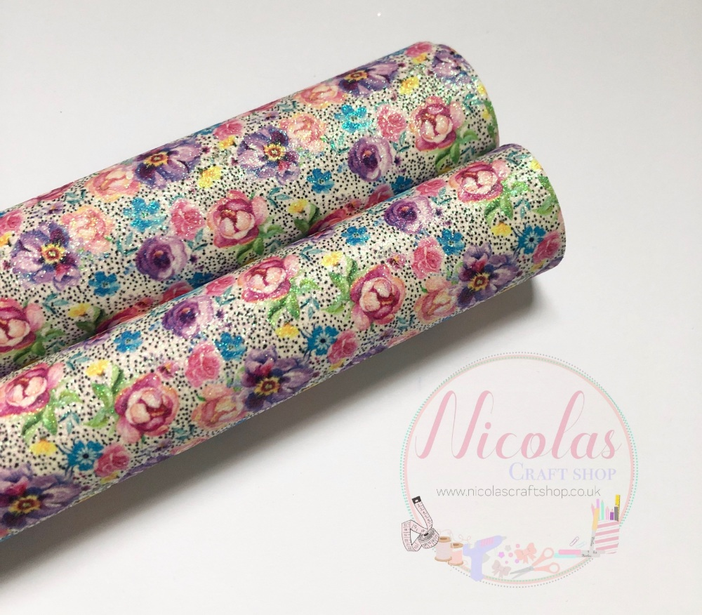 Floral multi colour flower fine glitter