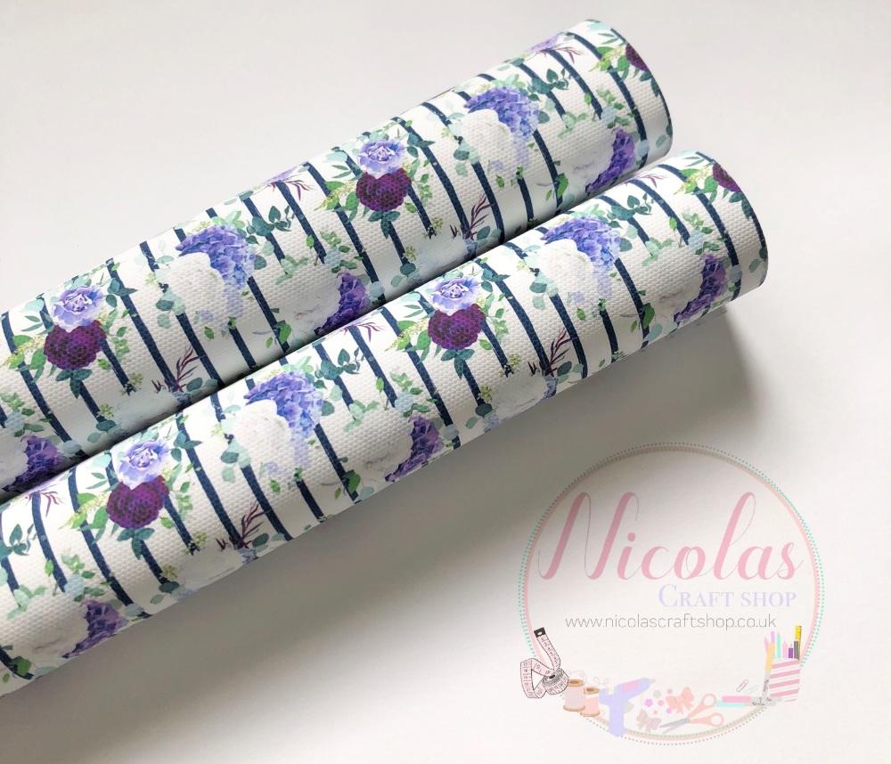 Dark purple stripe floral flower printed canvas