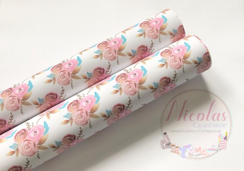 Golden pink floral printed canvas sheet
