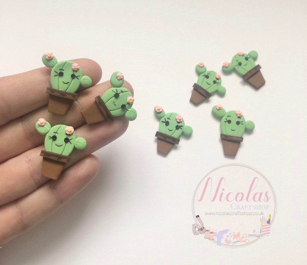 Cute cactus polymer clay embellishment