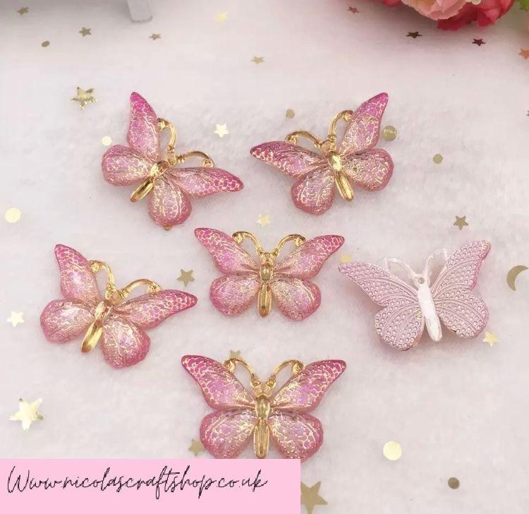 Lightest Pink mixed Butterfly Bling 3d flatback embellishment