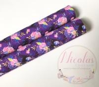 1286 - Dark Purple floral flower printed canvas sheet