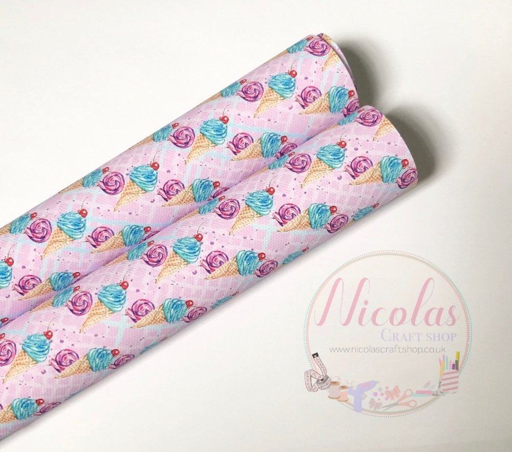 1037 - Pink wafer ice cream cherry on top printed canvas sheet