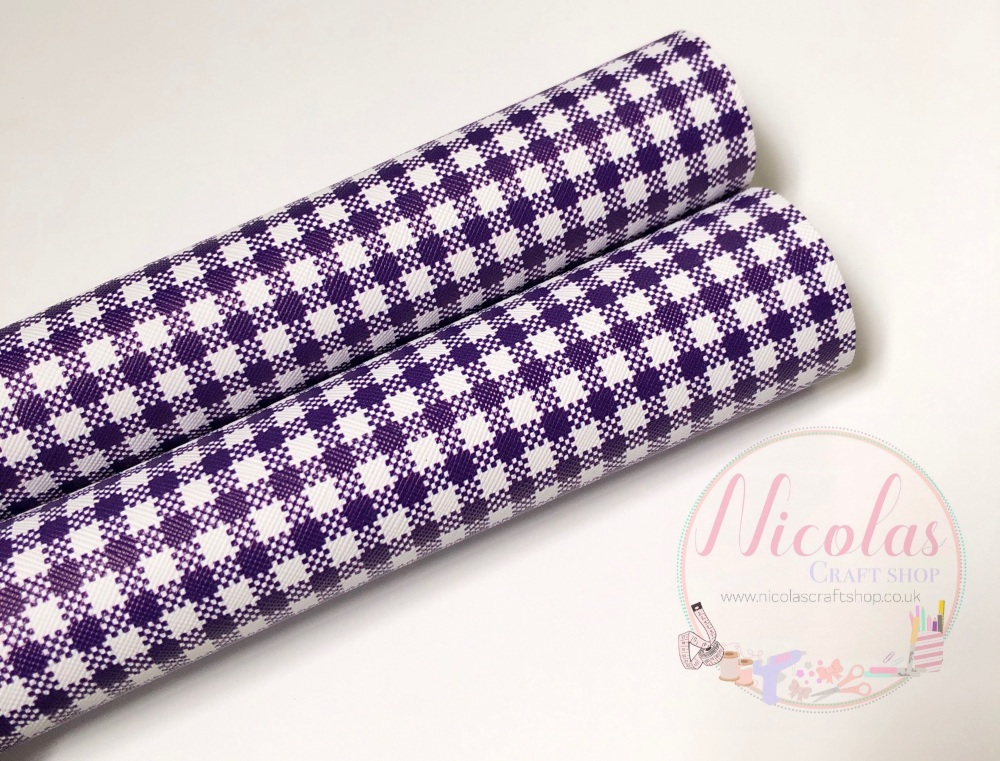 Dark purple Gingham print printed leatherette fabric