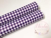 Dark purple Gingham print printed leatherette fabric