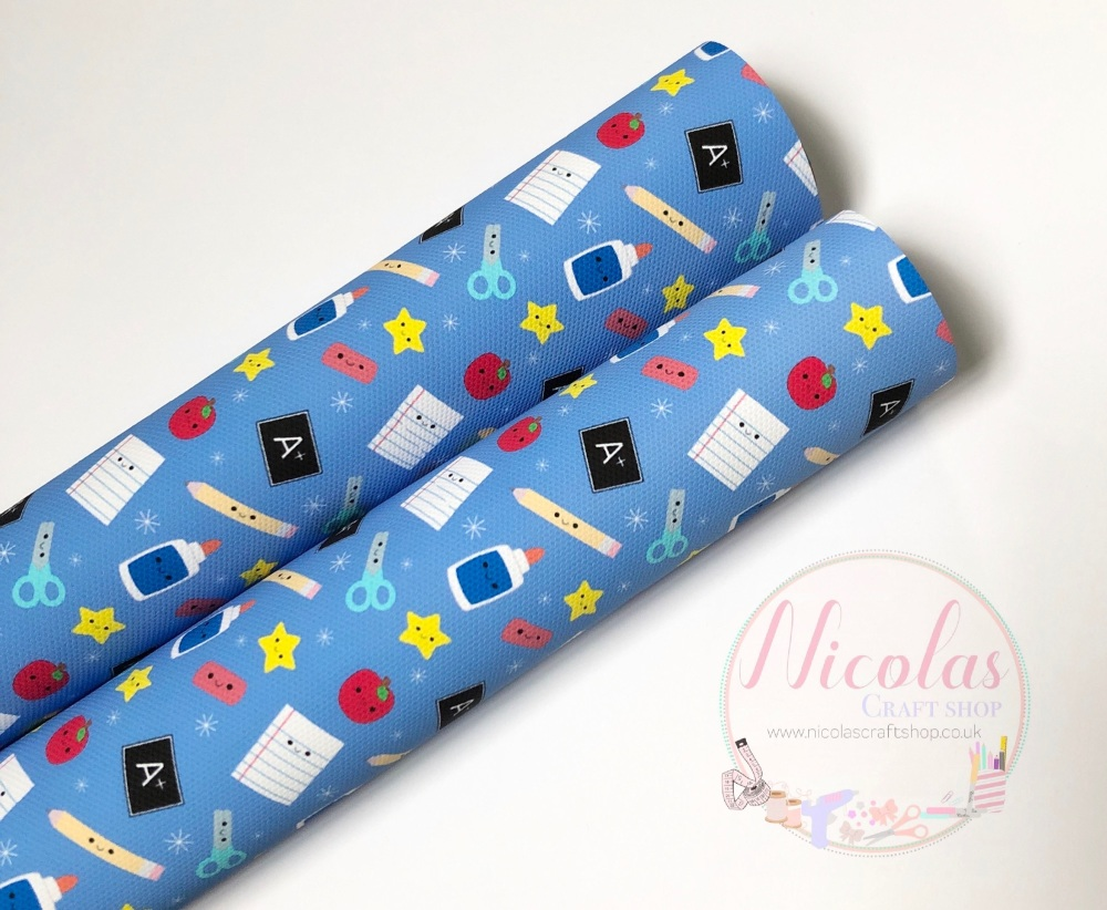 1106 - Blue School stationery printed canvas fabric