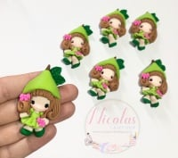 Lime Hat Girl Doll polymer clay