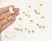Gold star MOON polymer clay