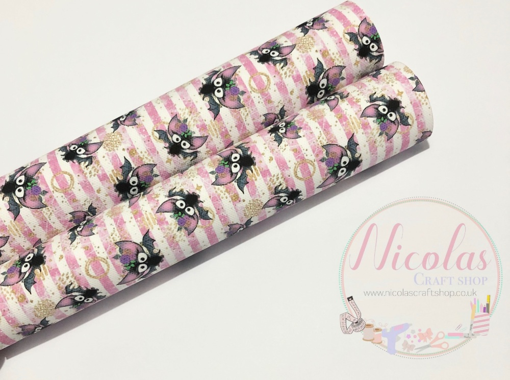 1112 - Pink Stripe Bat printed canvas sheet