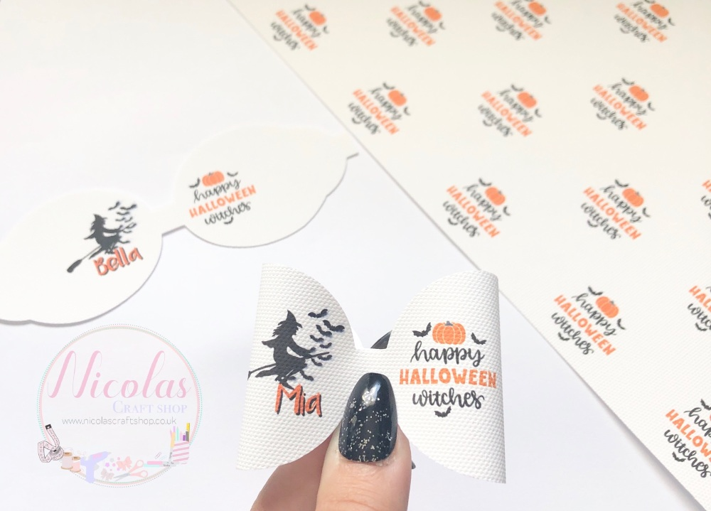 Happy Halloween Witches Personalised pre cut bow loop