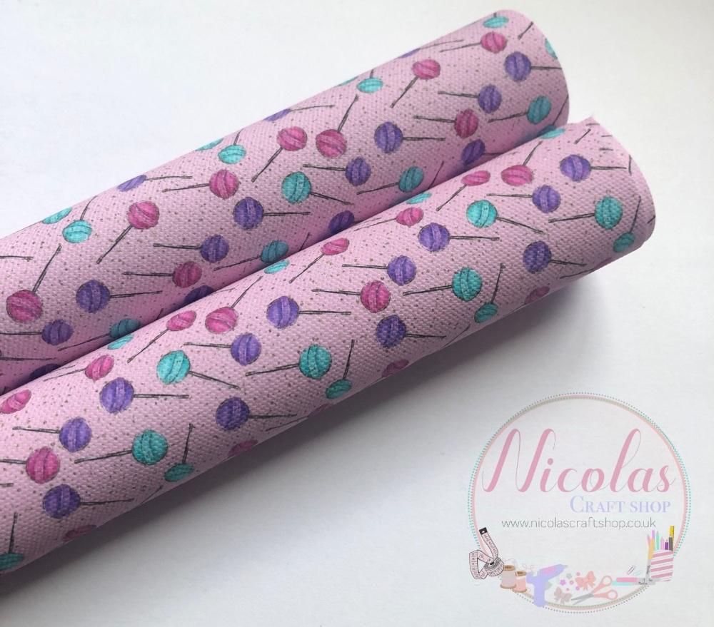 Pale pink lollipop scatter printed canvas sheet