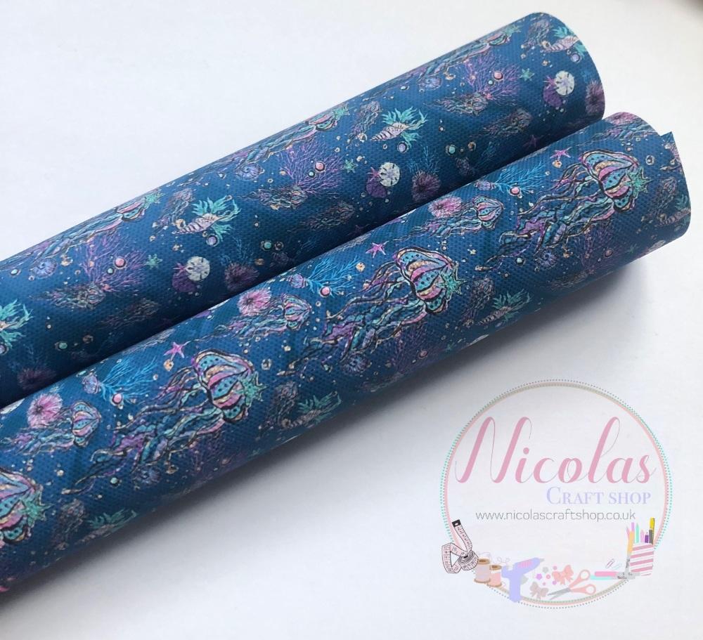 Dark Blue Jellyfish printed canvas sheet