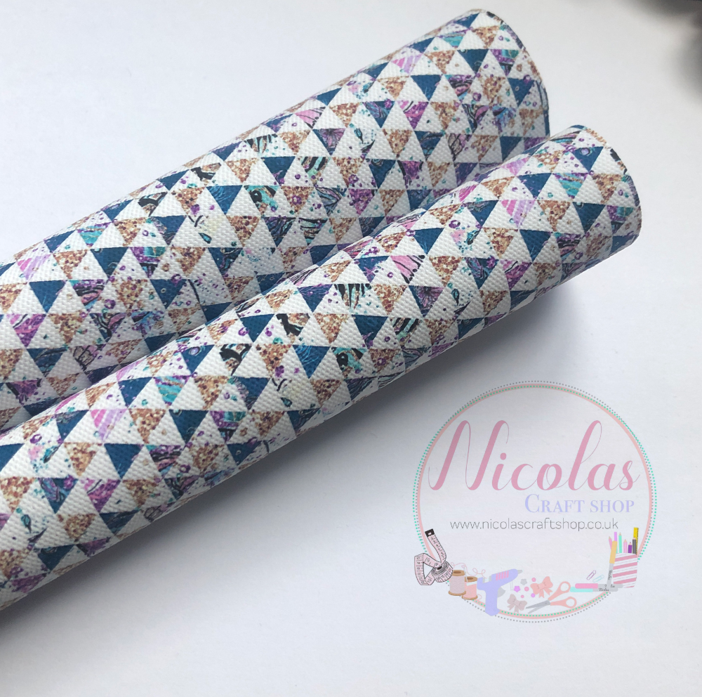 Dark Blue triangle geo pattern printed canvas sheet