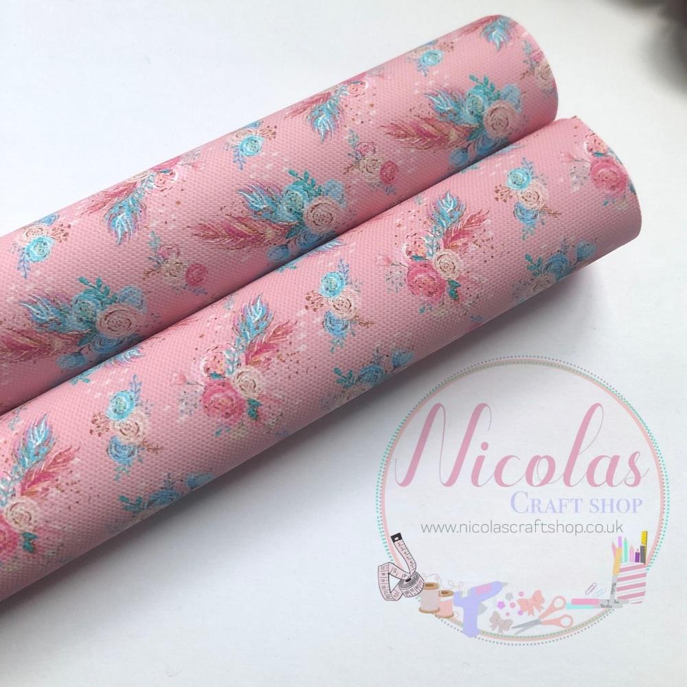 Pale pink floral print canvas sheet