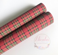 1059 - Red tartan printed canvas sheet