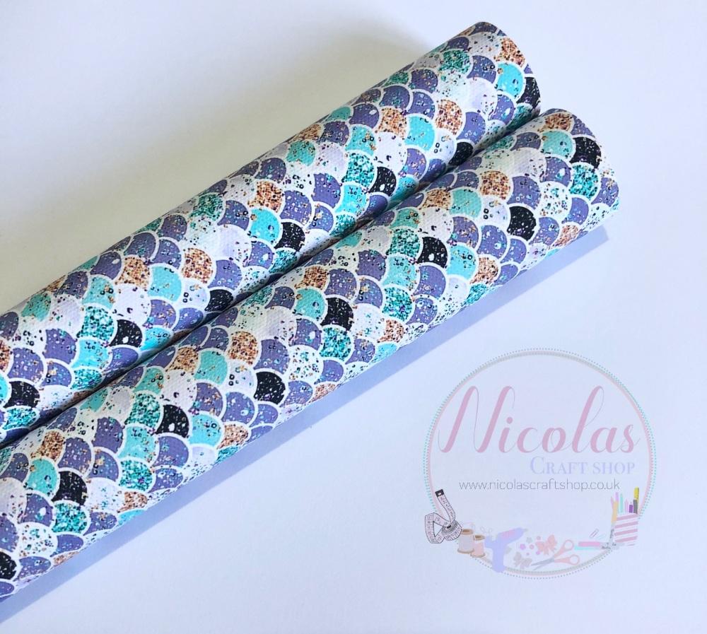 Purple Teal mermaid scales printed canvas sheet