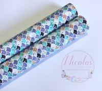 1048 - Purple Teal mermaid scales printed canvas sheet