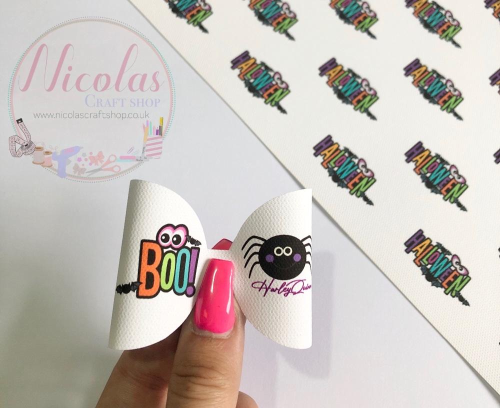Halloween boo spider printed pre cut bow loop