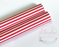 1067 - Red and white stripe printed canvas sheet