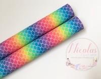 1084 - Rainbow mermaid scales printed canvas sheet