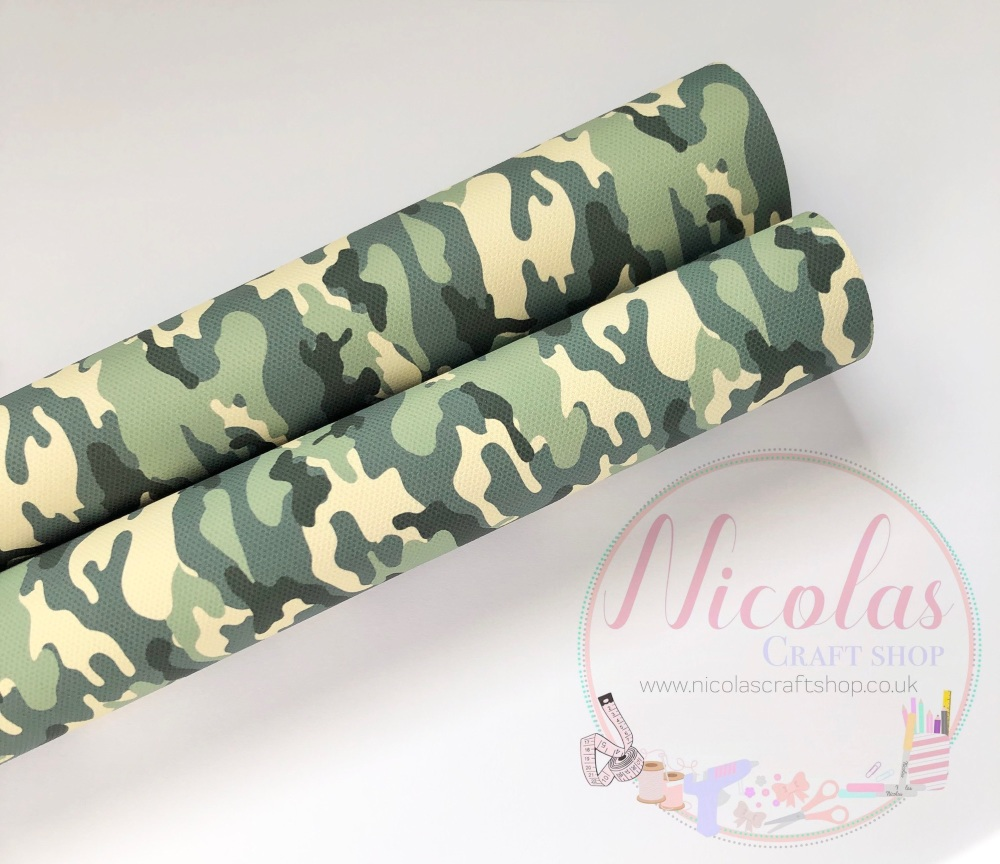Camo Camouflaged printed canvas sheet