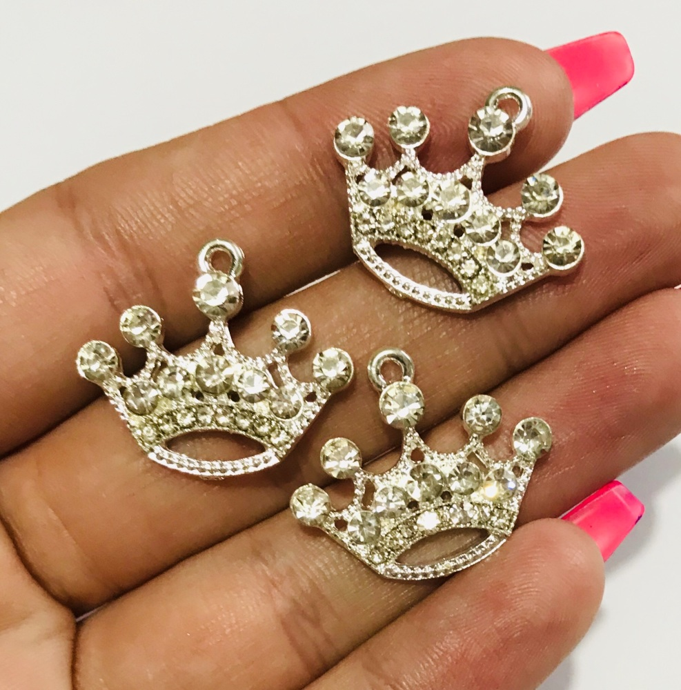 Silver coated crown charm embellishment