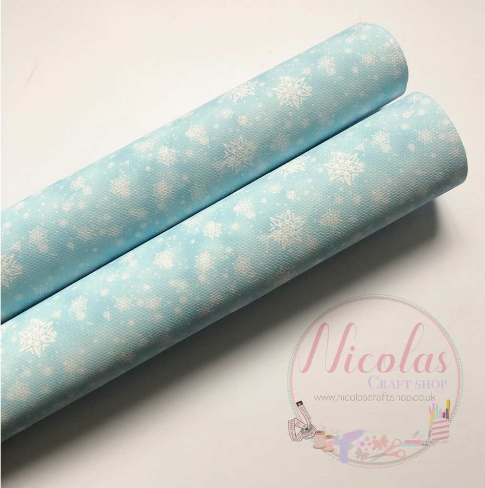 1086 - Pale Blue snowflake printed canvas sheet