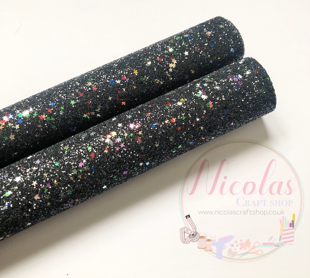 Jet black with multi stars glitter fabric