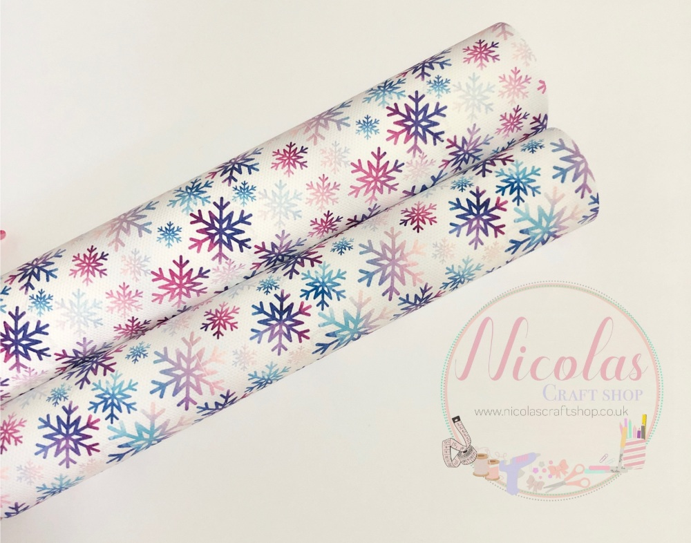 1095 - Purple Pink ombre christmas snowflake printed canvas sheet
