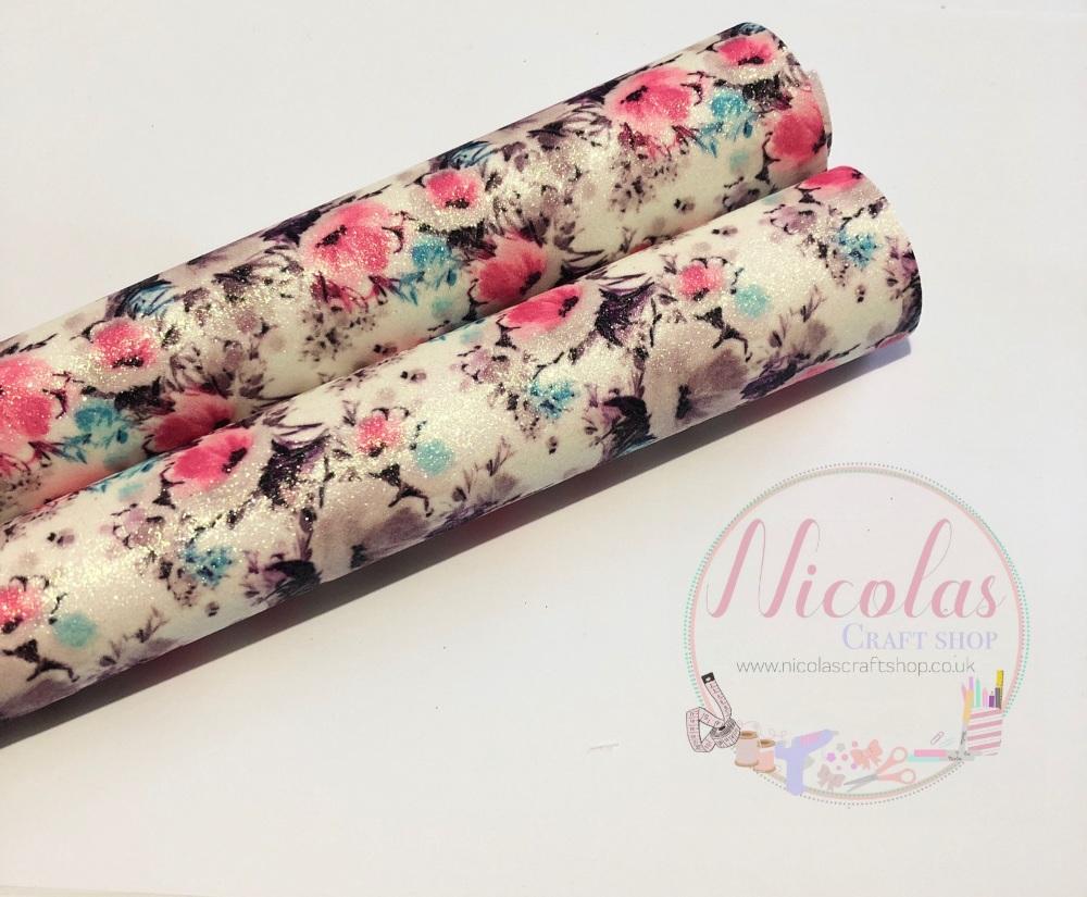 Bright pink / blue floral printed fine glitter