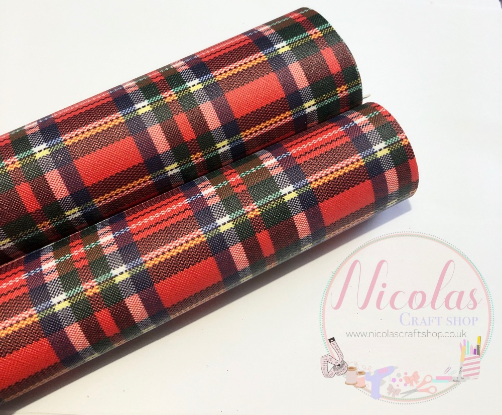 Red tartan printed leatherette fabric