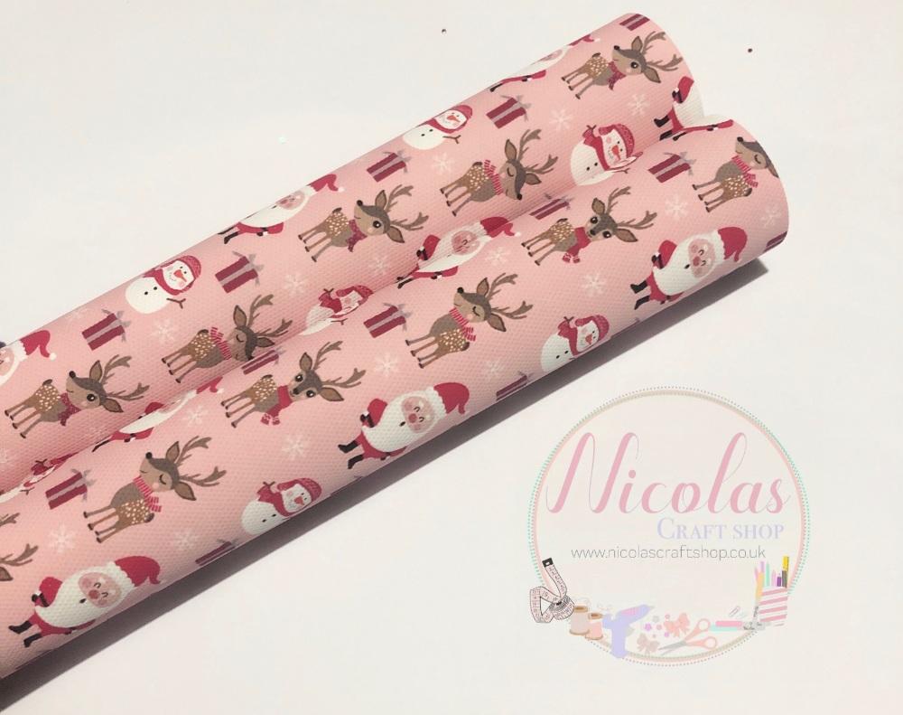 1072 - Pink Santa snowman reindeer printed canvas sheet