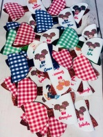 Personalised Gingham Girls Printed Bow Loops Pre Cut