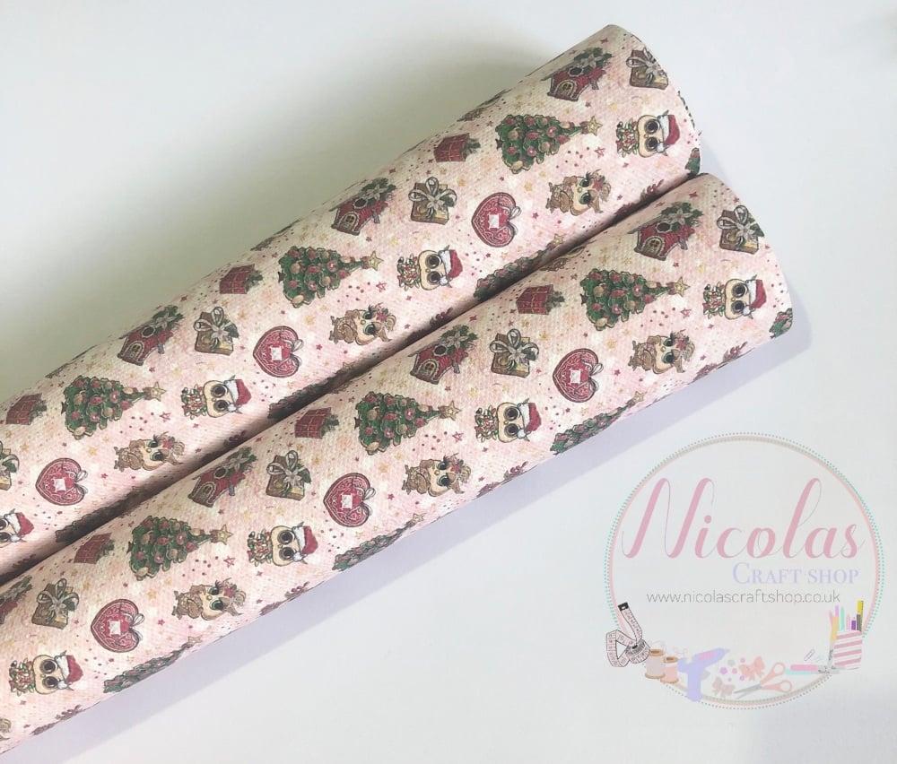 Pink Christmas owl printed canvas sheet