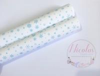 1108 - White blue snowflake printed canvas sheet