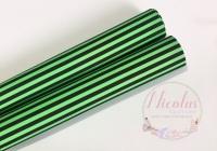 1262 - Green and black stripe halloween printed canvas sheet