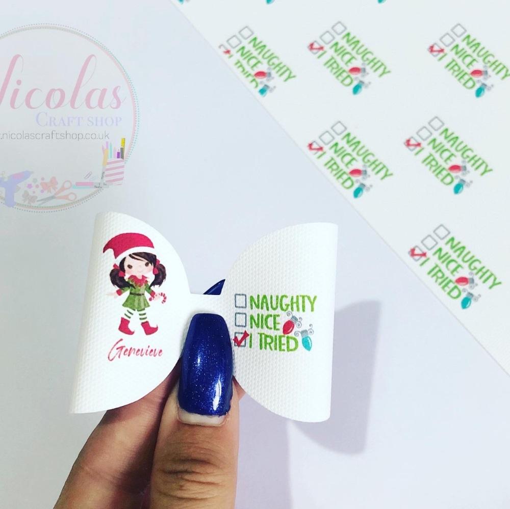 I tried elf Christmas personalised pre cut loop